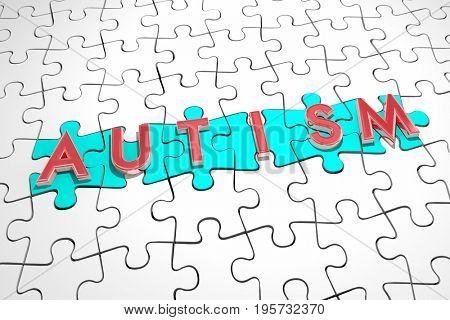 Autism Puzzle Pieces Autistic Condition Find Cure Treatment 3d Illustration