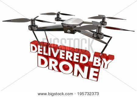 Delivered by Drone Automated Delivery Packages Shipping 3d Illustration