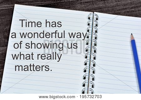 Time has a wonderful way of showing us what really matters on notebook page