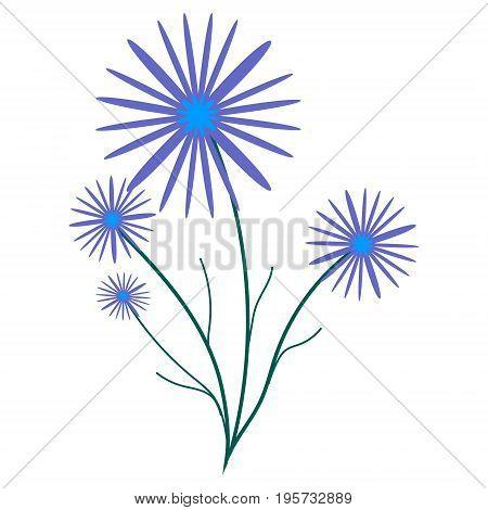 Small bouquet of purple cornflowers. vector illustration