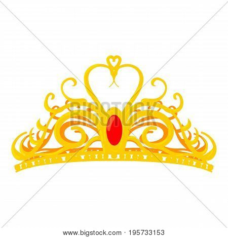 Diadem icon. Cartoon illustration of diadem vector icon for web