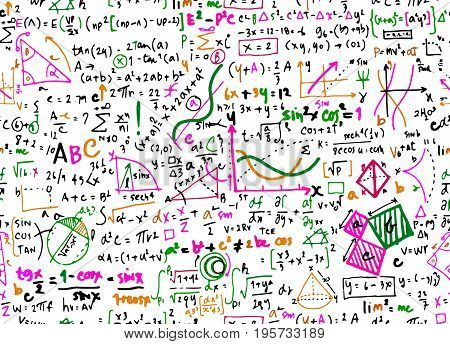 Math Linear Mathematics Education Circle Background With Geometrical Plots,seamless Background Doodl