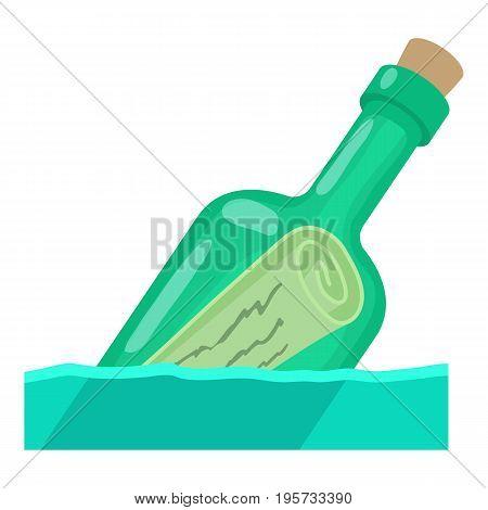 Bottle with message icon. Cartoon illustration of bottle with message vector icon for web