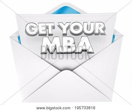Get Your MBA Master Business Administration Envelope 3d Illustration