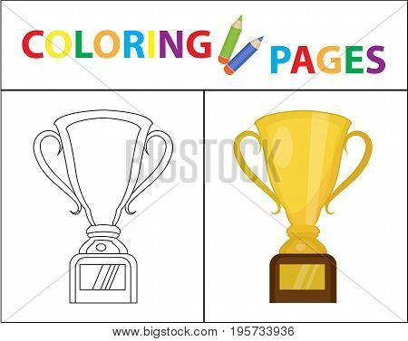 Coloring book page. Gold Cup winner, prize. Sketch outline and color version. Coloring for kids. Childrens education. Vector illustration