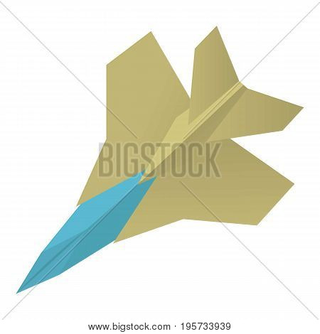 Origami aircraft icon. Cartoon illustration of origami aircraft vector icon for web