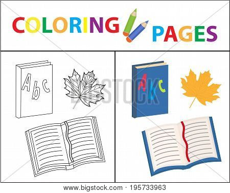 Coloring book page. Back to school set, book, primer. Sketch outline and color version. Coloring for kids. Childrens education. Vector illustration