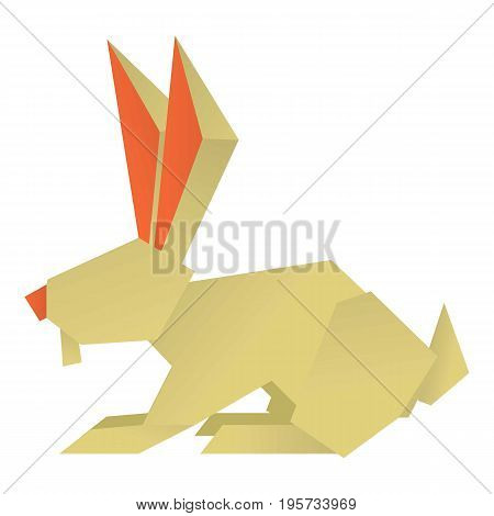 Origami rabbit icon. Cartoon illustration of origami rabbit vector icon for web