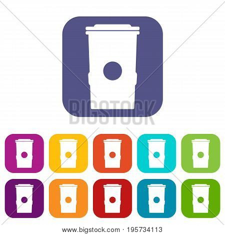 Trash can icons set vector illustration in flat style In colors red, blue, green and other