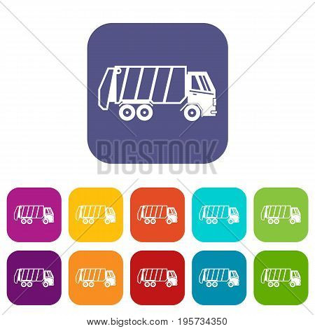 Garbage truck icons set vector illustration in flat style In colors red, blue, green and other