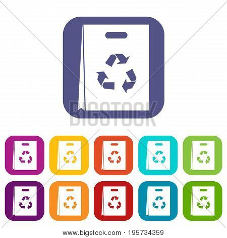 Package recycling icons set vector illustration in flat style In colors red, blue, green and other