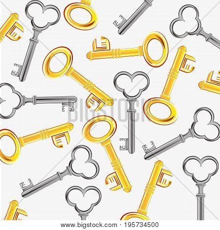 Keys from doors from gild and metal on white background