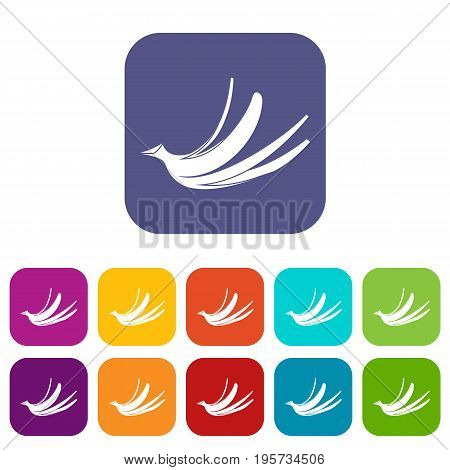 Banana peel icons set vector illustration in flat style In colors red, blue, green and other