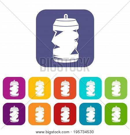 Crumpled aluminum cans icons set vector illustration in flat style In colors red, blue, green and other