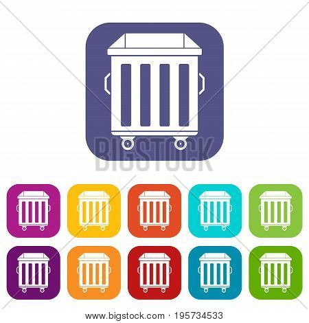 Dumpster on wheels icons set vector illustration in flat style In colors red, blue, green and other