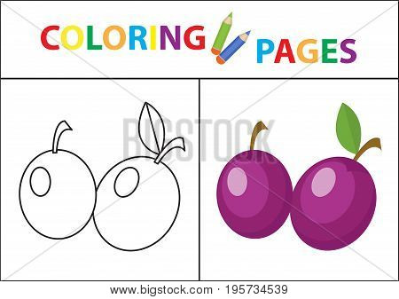 Coloring book page. Sketch outline and color version. Coloring for kids. Childrens education. Vector illustration