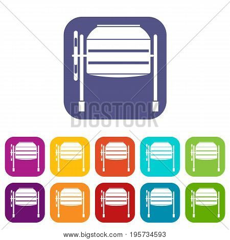 Concrete mixer icons set vector illustration in flat style In colors red, blue, green and other