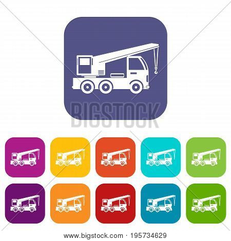 Truck mounted crane icons set vector illustration in flat style In colors red, blue, green and other