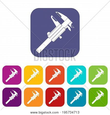 Calipers icons set vector illustration in flat style In colors red, blue, green and other
