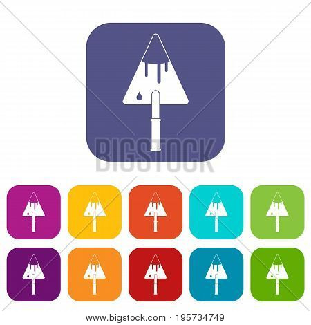 Construction trowel icons set vector illustration in flat style In colors red, blue, green and other