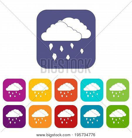 Clouds and hail icons set vector illustration in flat style In colors red, blue, green and other