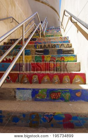 Colorful Stairs Of A School In Bonifacio, With Drawings Made By The Kids.