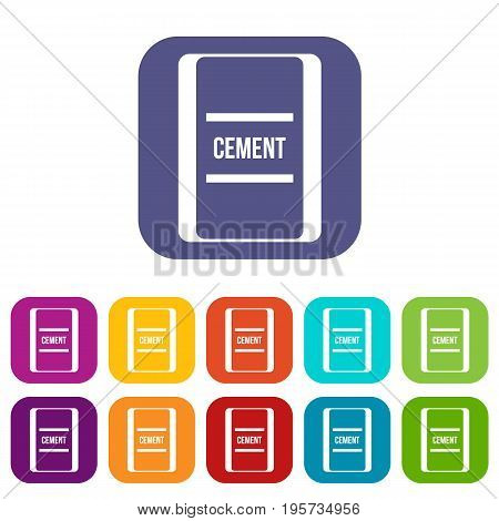 One bag of cement icons set vector illustration in flat style In colors red, blue, green and other