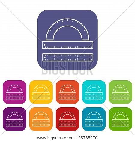 Ruler and protractor icons set vector illustration in flat style In colors red, blue, green and other