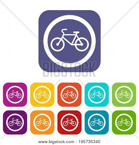 Travel by bicycle is prohibited traffic sign icons set vector illustration in flat style In colors red, blue, green and other
