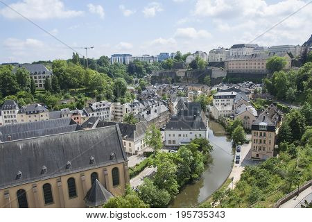 An overhead scenic view of Luxembourg City