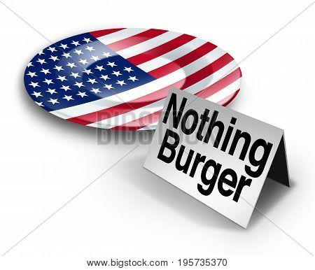 Political nothing burger or nothingburger phrase concept as an empty plate with an American flag representing fake news investigation or insignificant media information that lacks substance or guilt as a politics hoax 3D illustration.
