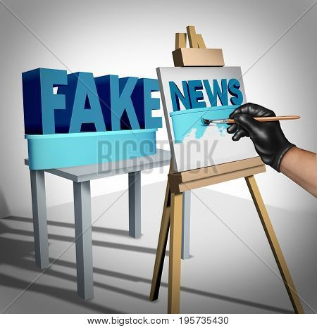 Fake news media concept and hoax journalistic reporting as a dishonest person painting false information on a public canvas as truth as a metaphor and deceptive disinformation creation with 3D illustration elements.