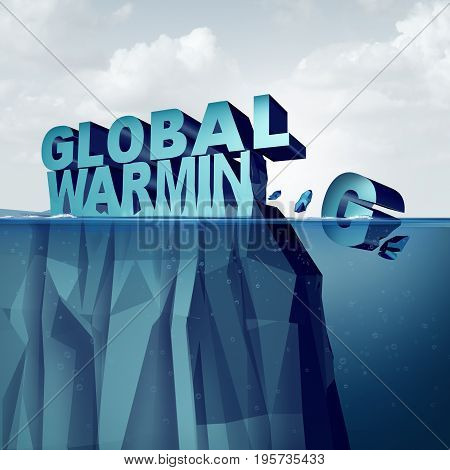 Global warming and arctic ice melting of the polar caps concept as an environmental weather change disaster as an iceberg or glacier shaped as text breaking off and melting as a 3D illustration.