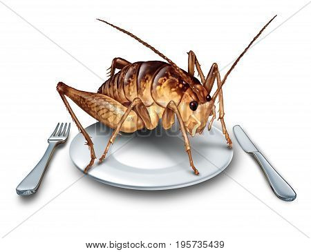 Eat bugs and eating insects as exotic cuisine and alternative high protein nutrition food as a cricket insect in a plate with knife and fork as a symbol for entomophagy with 3D illustration elements.