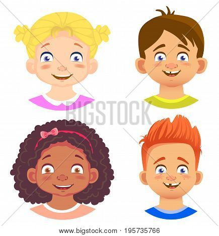 Set of girls and boy character. Children emotions. Facial expression. Set of emoticons. Flat vector illustration. Joy