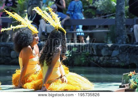Honolulu Hawaii - May 27 2016: Young Polynesian Performers entertaining visitors at the Polynesian Cultural Center during the daily 'Rainbows of Paradise' show.