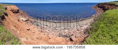 Red Rocks On Cavendish Beach Pano (longer), Prince Edward Island
