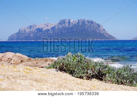 Scenic View Of Tavolara From Sardinia Coastline.