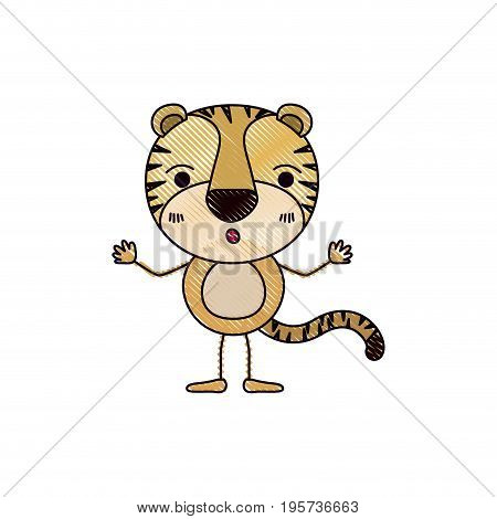 color crayon silhouette caricature of cute tiger astonished expression vector illustration
