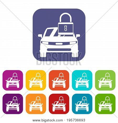 Car with padlock icons set vector illustration in flat style In colors red, blue, green and other
