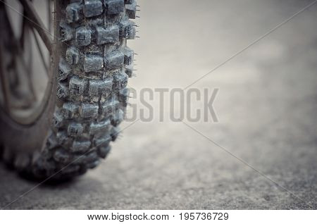 Tyre of motocross bike, use when the snow on the road