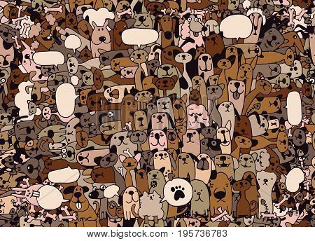 Animals. Cats And Dogs Vector Pattern. Hand Drawn Doodles Pets,seamless Background Doodle Vector.