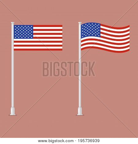 American flag on pole. vector illustration graphic