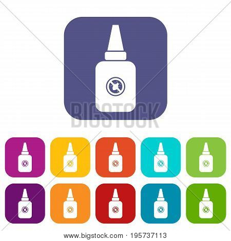 Insect spray icons set vector illustration in flat style In colors red, blue, green and other