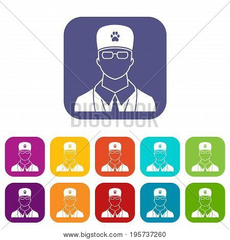 Veterinarian icons set vector illustration in flat style In colors red, blue, green and other