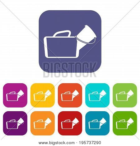 Medical bag icons set vector illustration in flat style In colors red, blue, green and other