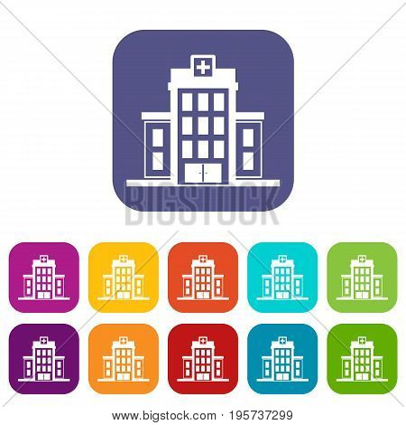 Hospital icons set vector illustration in flat style In colors red, blue, green and other
