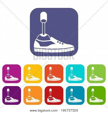 Prosthetic leg icons set vector illustration in flat style In colors red, blue, green and other