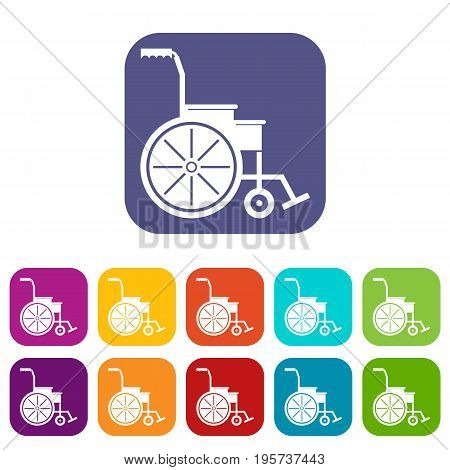 Wheelchair icons set vector illustration in flat style In colors red, blue, green and other