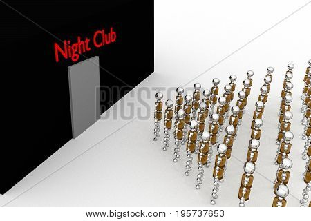 Robots are facing the Night Club. 3D rendering.